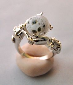 Celestial Lunar Oracle ring by Omnia; Sterling silver with full moon.