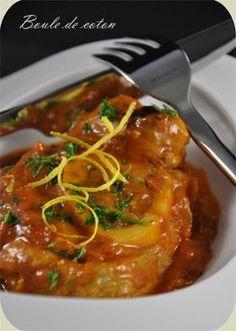 Osso bucco à la milanaise (rouelles de jarret de veau, oignons, ail, oranges, citrons, vin blanc, eau, fond de veau déshydraté, tomates pelées, huile d'olive, sel, poivre, farine, persil haché)