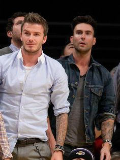 David Beckham and Adam Levine: Both sleeved tattooed (That is almost too much tattoo hotness in one picture....)