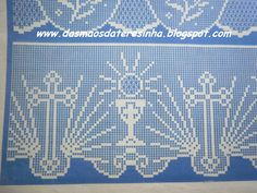 Crochet Altar Cloth Cross And Crochet Edging Patterns, Filet Crochet Charts, Crochet Lace Edging, Crochet Cross, Crochet Diagram, Thread Crochet, Crochet Designs, Crochet Doilies, Cross Stitch Patterns