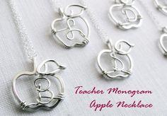 Custom Monogram Apple for Teacher Necklace in Sterling Silver. $42.00, via Etsy.