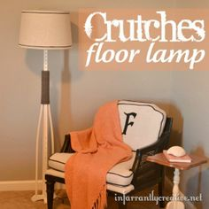 A floor lamp made from crutches! amazingly creative!