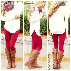 4 Casual Thanksgiving Outfits - - Yipeee, it's almost Thanksgiving! There is nothing better than putting on the perfect cozy yet chic outfit for Thanksgiving dinner. Cute Thanksgiving Outfits, Casual Fall Outfits, Fall Winter Outfits, Chic Outfits, Fashion Outfits, Outfits With Boots, Legging Outfits, Red Pants Outfit, Burgundy Leggings