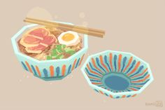 "abbydraws:  HAM! 3D Ghibli food time: Ham and Noodles from ""Ponyo"""