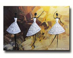 ORIGINAL Abstract Dancer Painting White Dress Ballet Dance Textured Palette Knife Brown Gold - Christine Krainock Art - Contemporary Art by Christine - 1 Large Canvas Wall Art, Canvas Art, Flower Texture, Artist Painting, Music Painting, Knife Painting, Texture Painting, Palette Knife, Custom Art