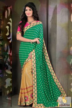Affair to remember everyone wearing this stylish green beige color jacquard party wear saree online at low price. Get new year Indian saree 2015-2016 collection online shopping with discount sale and deal. #sarees, #Diwalisarees, #embroiderysarees, #weddingwearsaree, #partywearsaree, #newyearsareecollection, #2016, #pavitraafashion More : http://www.pavitraa.in/store/embroidery-saree/ Call / WhatsApp : +91-76982-34040  E-mail: info@pavitraa.in