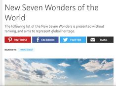 This is an article on the topic New Seven Wonders, Wonders Of The World, Project 3