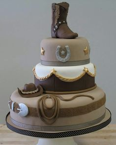 This would make an awesome grooms cake for a country style wedding or a cowboy birthday party. Pretty Cakes, Cute Cakes, Beautiful Cakes, Amazing Cakes, Cowgirl Cakes, Western Cakes, Western Theme, Western Cowboy, Western Style