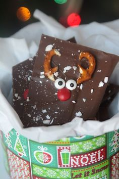 This is so cute! Chocolate peppermint reindeer bark is a fun Christmas treat that's super easy to make. My kids would love it!