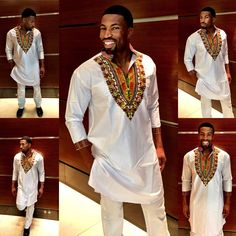 Men's Three-Quarter-Sleeve Long-line Shirt Dashiki Designs African Attire, African Wear, African Dress, African Clothing For Men, African Shirts, Mens Fashion Wear, Big Men Fashion, Men's Fashion, African Inspired Fashion