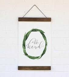 Be Kind Leaf Wreath Wall Hanging - This gorgeous wall hanging would be beautiful in a gallery wall or as a sweet reminder in a small one's bedroom.