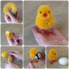 How to make adorable Pom Pom Easter chicks - Easter Day DIY your Christmas gifts this year with GLAMULET. they are compatible with Pandora bracelets. How to Make Adorable Pom-Pom Easter Chicks Learn how to make pom pom Easter bunnies. Pom Pom Crafts, Yarn Crafts, Diy And Crafts, Arts And Crafts, Handmade Crafts, Pom Pom Diy, Cardboard Crafts, Crochet Crafts, Crochet Ideas