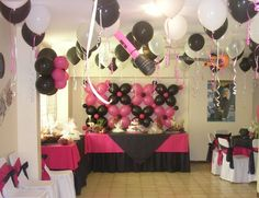 like the balloons behind the table.  Thanks for the idea @Gena Ng McCown Sweet 16 Birthday, 16th Birthday, Girl Birthday, Grad Parties, Birthday Parties, Zebra Print Party, Quinceanera Themes, Sweet Sixteen Parties, Barbie Party