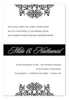 black and white invite