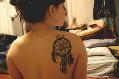 Dragon Dream Catcher | Black Ink Dreamcatcher Tattoo On Right Back Shoulder