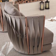 Poltrona di design in pelle Twist Cantori Unique Furniture, Sofa Furniture, Luxury Furniture, Furniture Design, Sofa Design, Poltrona Design, New Interior Design, Modern Interior, Woven Chair