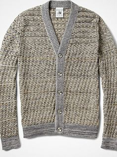 basketweave stitch + ribbed trim and gleaming buttons…  via basouk