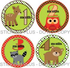 Baby Boy or Girl Monthly Onesie Stickers Woodland by StickersPlus, $8.99