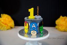 Hand-painted details on a buttercream cake. #marvel #marvelcomics #smashcake #cake #avengers #marveluniverse #ironman #captainamerica #hulk #thor #firstbirthday #shaynajohnsonphotography