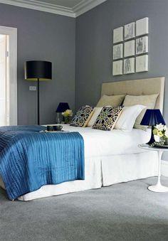 Grey walls, grey carpet, blue and white color scheme Bedroom Carpet, Living Room Carpet, Home Goods Decor, Home Decor, Bedroom Flooring, Grey Carpet, Modern Carpet, Carpet Colors, Carpet Design
