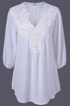 $14.29 Plus Size Sweet Crochet Spliced Blouse  http://wholesaleplussize.clothing/