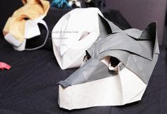 origami wolf mask by Chad Killeen