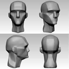 ArtStation - Simplified Heads, Mahan Amin Head Anatomy, Anatomy Poses, Anatomy Drawing, Zbrush Tutorial, 3d Tutorial, Character Model Sheet, Character Modeling, Planes Of The Face, Bodies