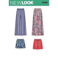 New Look Pattern 6289 Women's Pants Pallazo Pants Pattern, Yoga Pants Pattern, Skirt Pants, Shorts, New Look Women, New Look Patterns, Nouveau Look, Wrap Shirt, Dress Sewing Patterns