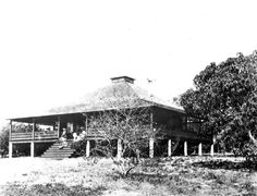 """Home of Ralph M. Munroe known as """"The Barnacle"""" - Coconut Grove, Florida: The Barnacle is Miami's oldest residence. It was built in 1891 using timber collected from the beaches. (189-?)"""