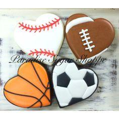 Baseball basketball football soccer heart decorated cookies sports by Paradise Sugar Shoppe Heart Shaped Cookies, Heart Cookies, Iced Cookies, Cut Out Cookies, Cute Cookies, Royal Icing Cookies, Cupcake Cookies, Sugar Cookies, Cookies Et Biscuits