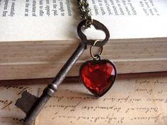 Items similar to Authentic Antique Skeleton Key And Heart Gem- Key To My Heart on Etsy