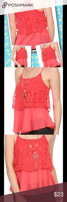 """🚨LAST ONE🚨Miley and Molly Lace & Chiffon - Small Brand new with tags. NWT. Gorgeous layered coral lace and chiffon cami top. Detachable chain necklace! Spaghetti straps, racer back.  Size Small - Bust 14"""". Length armpit to hem is 15""""  🔹Please ask all your questions before you purchase! I am happy to help! 🔹Sorry, no trades. 🔹Please, no lowball offers. 🔹Happy Poshing! Miley + Molly Tops Tank Tops"""