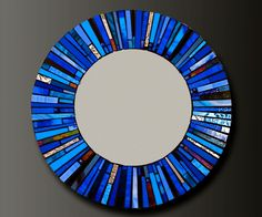 Mosaic Blue Stained Glass Mirror - Custom Order-. $285.00, via Etsy.