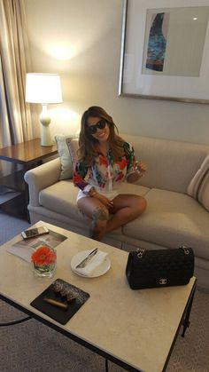 Floral Shirt and White Shorts for an Easy Laid Back Look all from Harvey Nichols