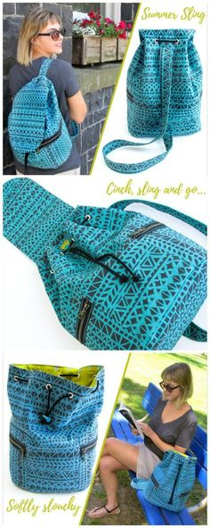 Free sewing pattern.  Summer sling bag - ideal for country walks.  I'm making them for me, hubby and the kids, then the kids can use them for school too.  Drawstring backpack sewing pattern - free.