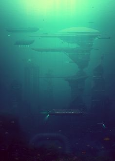 evgeny kazantsev shows real locations integrated into the world of the future-an underwater built city image © bang! bang! illustration agency