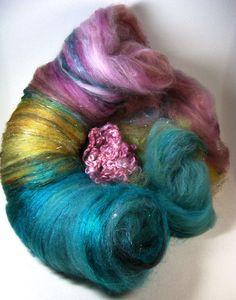 Serena Wild Card Bling Batt for spinning and felting by yarnwench