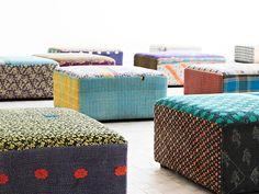 Weidesign - Wonen - Antique quilt Ottoman, Hay poef x-small