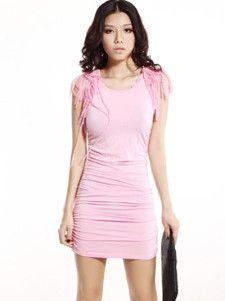Fashion Pink Cotton Spandex Tassel Shoulder Women's Mini Dress