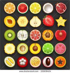 Vector fruit icon set by hudik, via Shutterstock