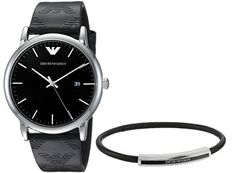 This men's Emporio Armani gift set features a stainless-steel watch with a black sunray dial and black leather strap with logo. The gift set is completed by a black leather bracelet with the iconic Emporio Armani eagle logo and a stainless-steel bolt-shaped... more details available at https://perfect-gifts.bestselleroutlets.com/gifts-for-men/product-review-for-emporio-armani-mens-dress-watch-gift-set/