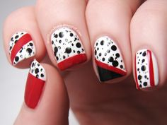 Disney Challenge 101 Dalmatians nail art Spellbound Nails Cruella de Vil red black white spots dog stripes skittle mani China Glaze Adventure Red-y