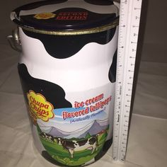 """Vintage """"Milk Can"""" Chupa Chups Tin Canister with Lid Picture of Cows 9.5"""" tall"""
