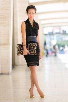 Team a leopard print bag with black to make a statement.  Image via @Wendy Felts Felts Felts's Lookbook   Pinned by www.petitestyleonline.com