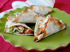 Sassy Wonton Tacos  Baking (not frying) the wonton wrappers in these tacos cuts calories and gives them a nice, crisp texture. Pack 'em to the brim with a veggie coleslaw mix, shredded chicken, cilantro and low-cal sesame-ginger dressing.