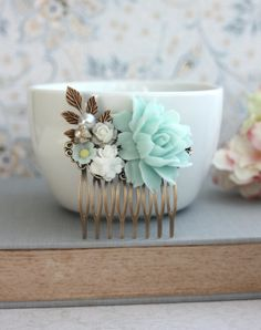 One Day…. Mint Flower Hair Comb
