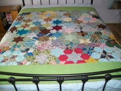 VINTAGE hand pieced patchwork newly remade by Timemachinequilting, £395.00