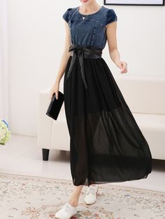 Elegant Round Neck Chiffon Pure Maxi-dress Maxi Dresses from fashionmia.com