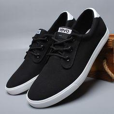 Black Fine Cotton Canvas Man Sneaker