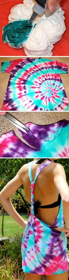 Tie Dye Swimsuit Cover Up-I actually just want the tye-dye shirt! Do It Yourself Baby, Do It Yourself Fashion, Cute Crafts, Crafts To Do, Diy Crafts, Shibori, Summer Crafts, Summer Fun, Summer Ideas